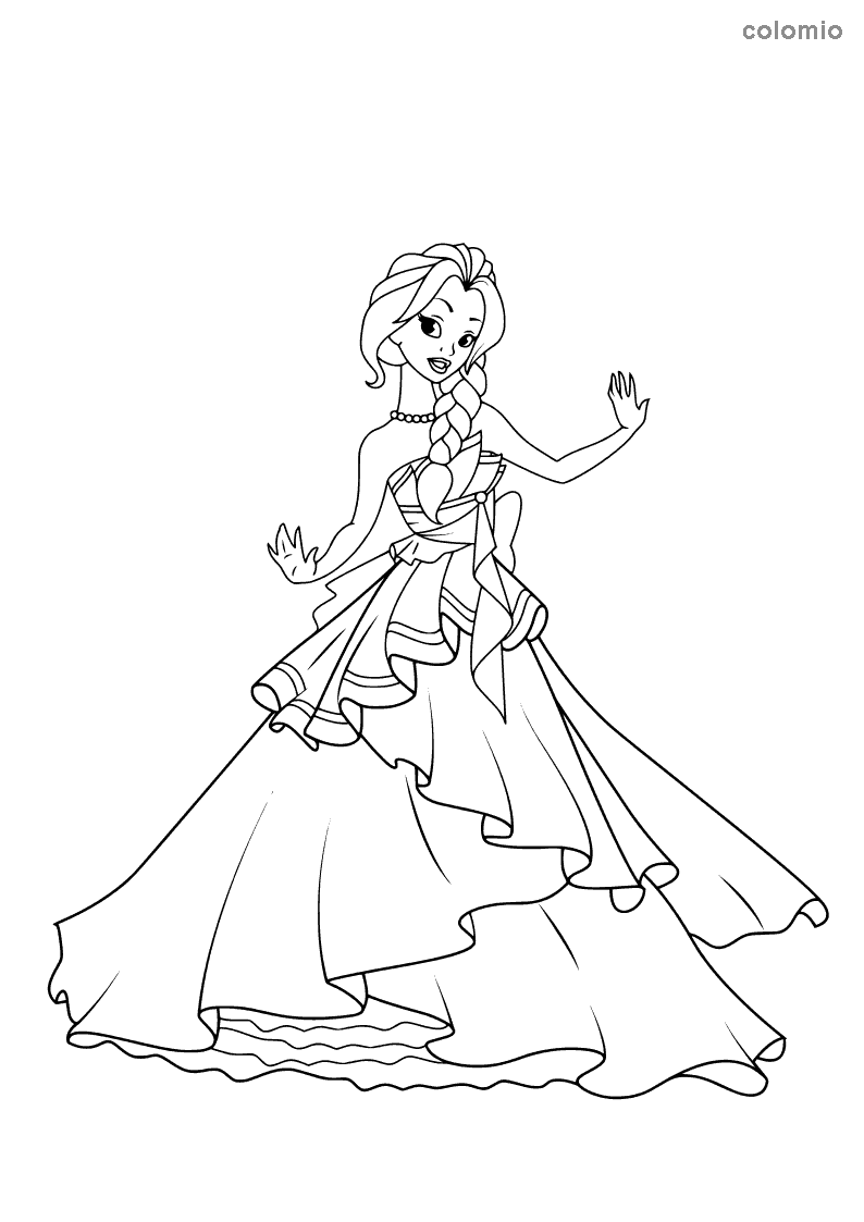 Princess with strapless ruffle dress coloring page