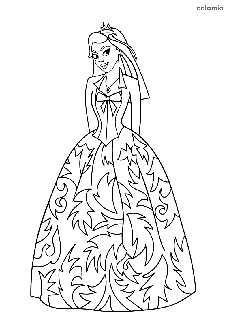 Similing princess coloring page