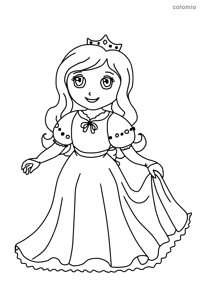 Smiling princess coloring page