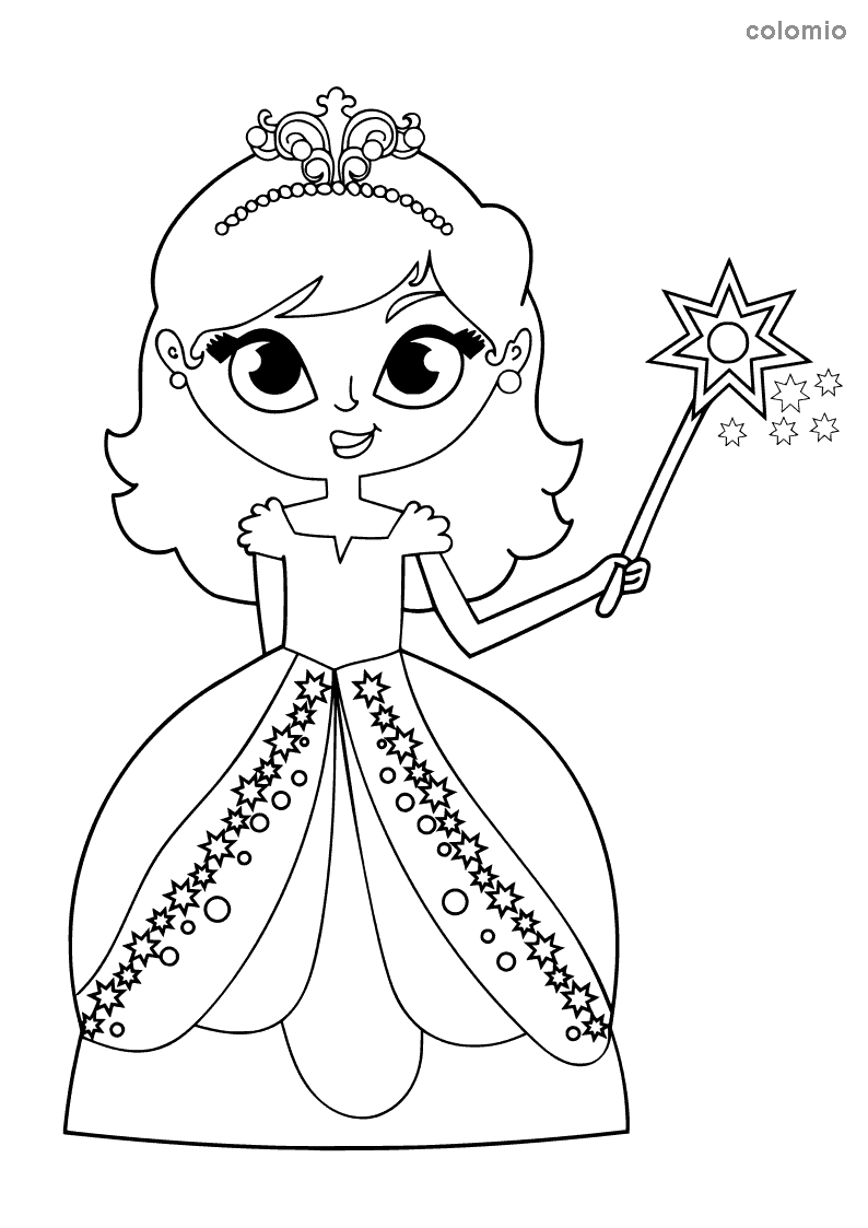Sweet princess with magic wand coloring page