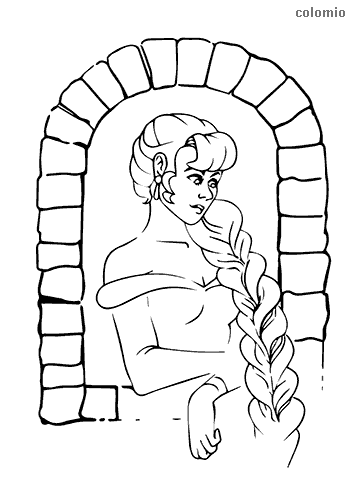 Rapunzel at the window coloring page