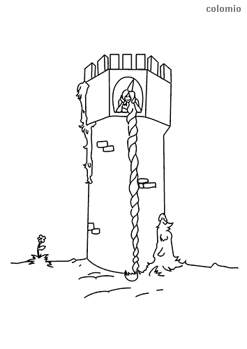 Rapunzel in the tower coloring page