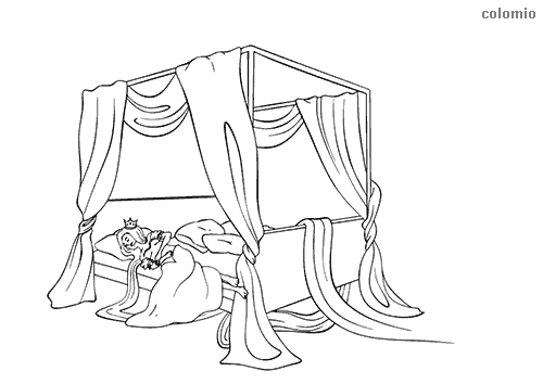 Rapunzel sleeping in bed coloring sheet