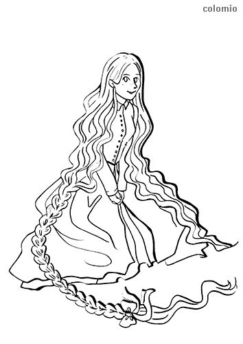 Smiling rapunzel coloring page