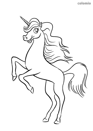 Cute jumping unicorn coloring page