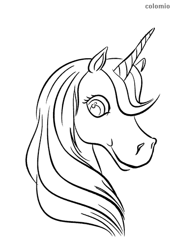 Cute unicorn head coloring sheet