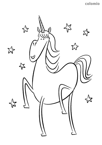 Smiling unicorn with stars coloring page