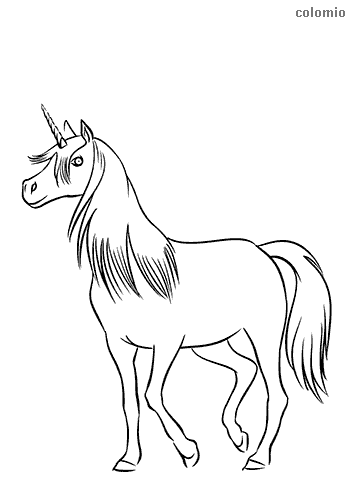 Smiling unicorn coloring sheet