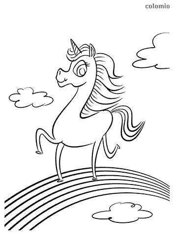 Unicorn on a rainbow coloring page