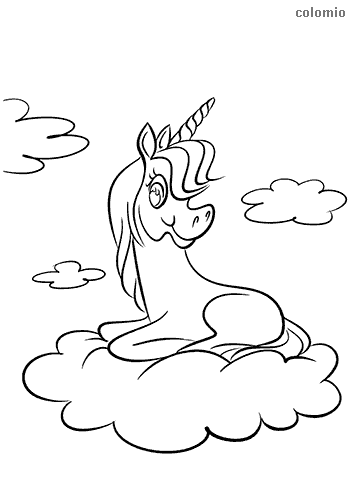 Unicorn on clouds coloring sheet