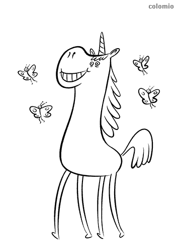 Unicorn with butterflies coloring pages
