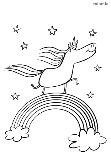 Unicorn with rainbow and stars coloring page