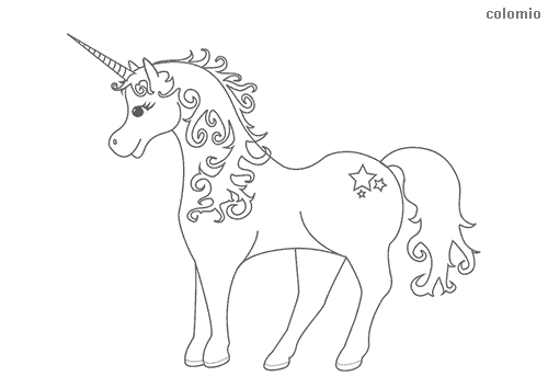 Unicorn with small stars coloring page