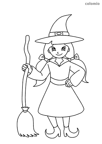 Cute witch coloring sheet