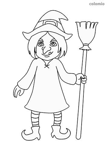 Nice witch with a broom coloring sheet