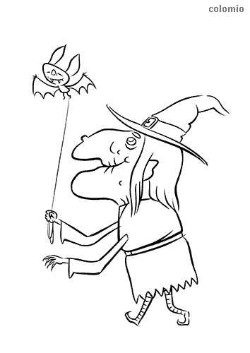 Old witch with bat coloring sheet
