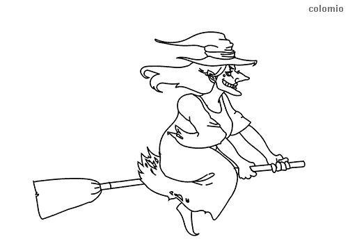 Smiling witch on a broom coloring page