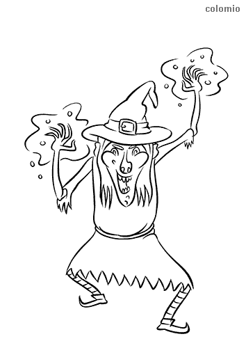 Witch conjuring a spell coloring page