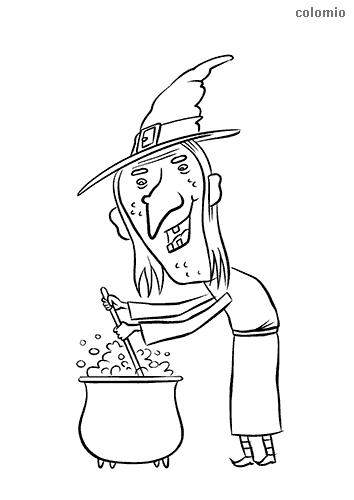 Dibujo de Bruja elaborando una poción mágica para colorear
