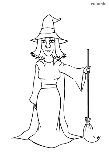Witch with a broom coloring page
