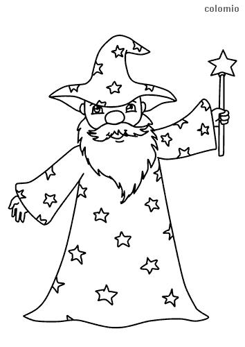 Zauberer mit Zauberstab Ausmalbild