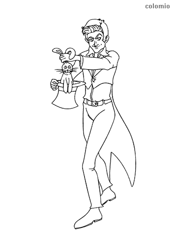 Magician with a rabbit coloring page