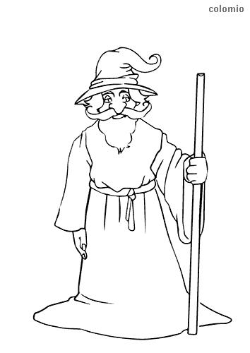 Dibujo de Mago con bastón largo para colorear