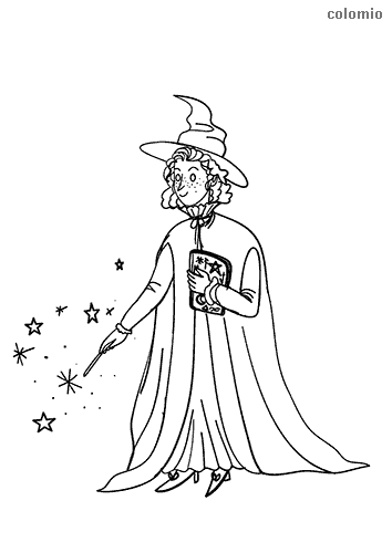 Sorceress with magic book and wand coloring sheet