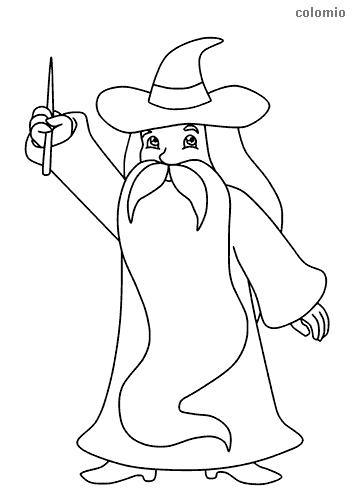 Dibujo de Mago con barba larga para colorear