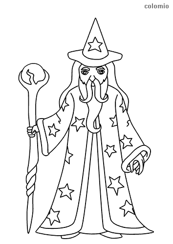 Wizard with dragon claw coloring page