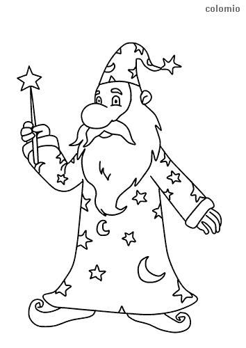 Dibujo de Mago con varita mágica y barba para colorear