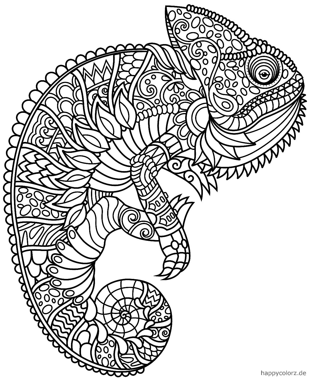Camaleón Mandala para colorear