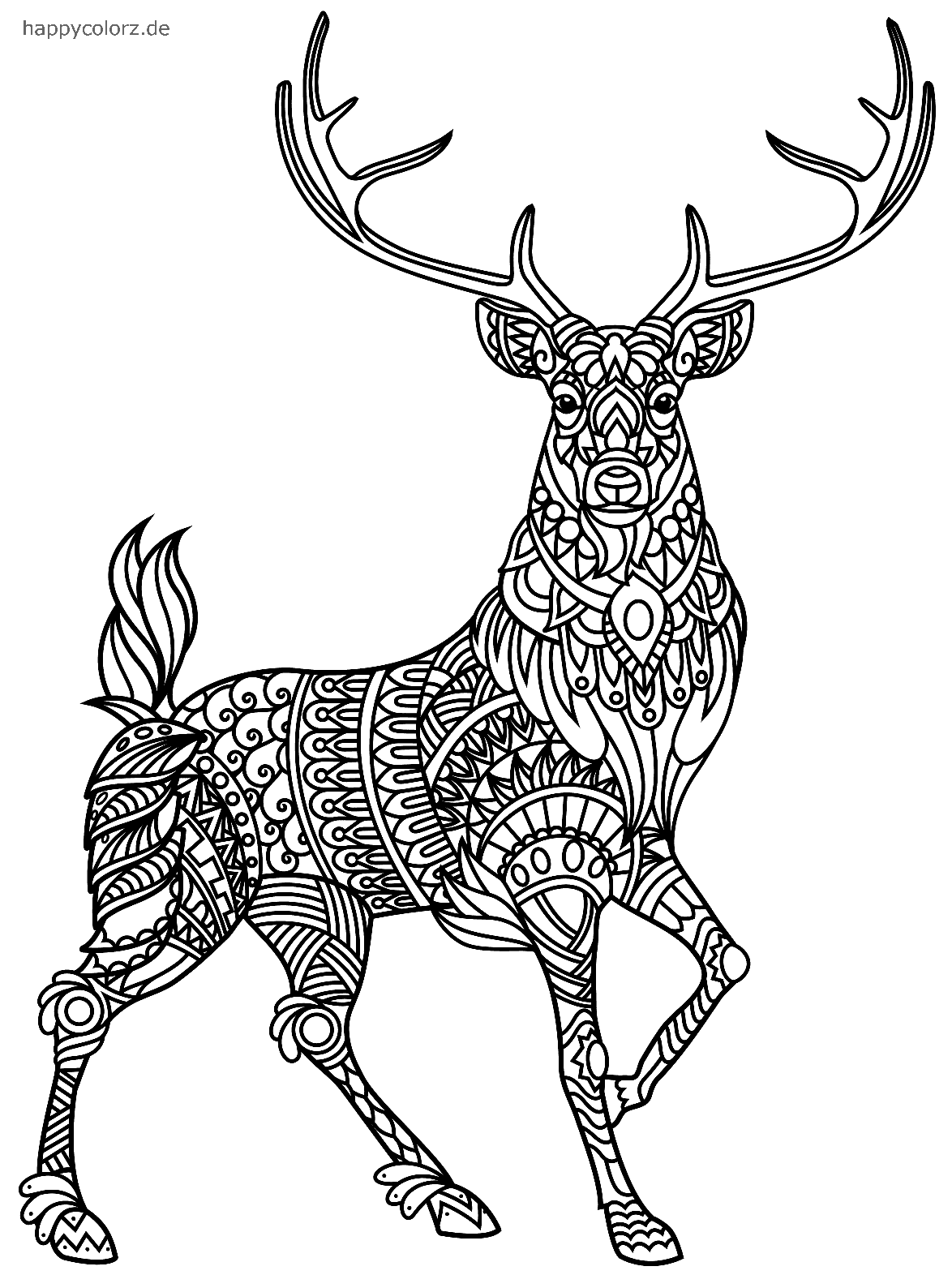 Ciervo Mandala para colorear