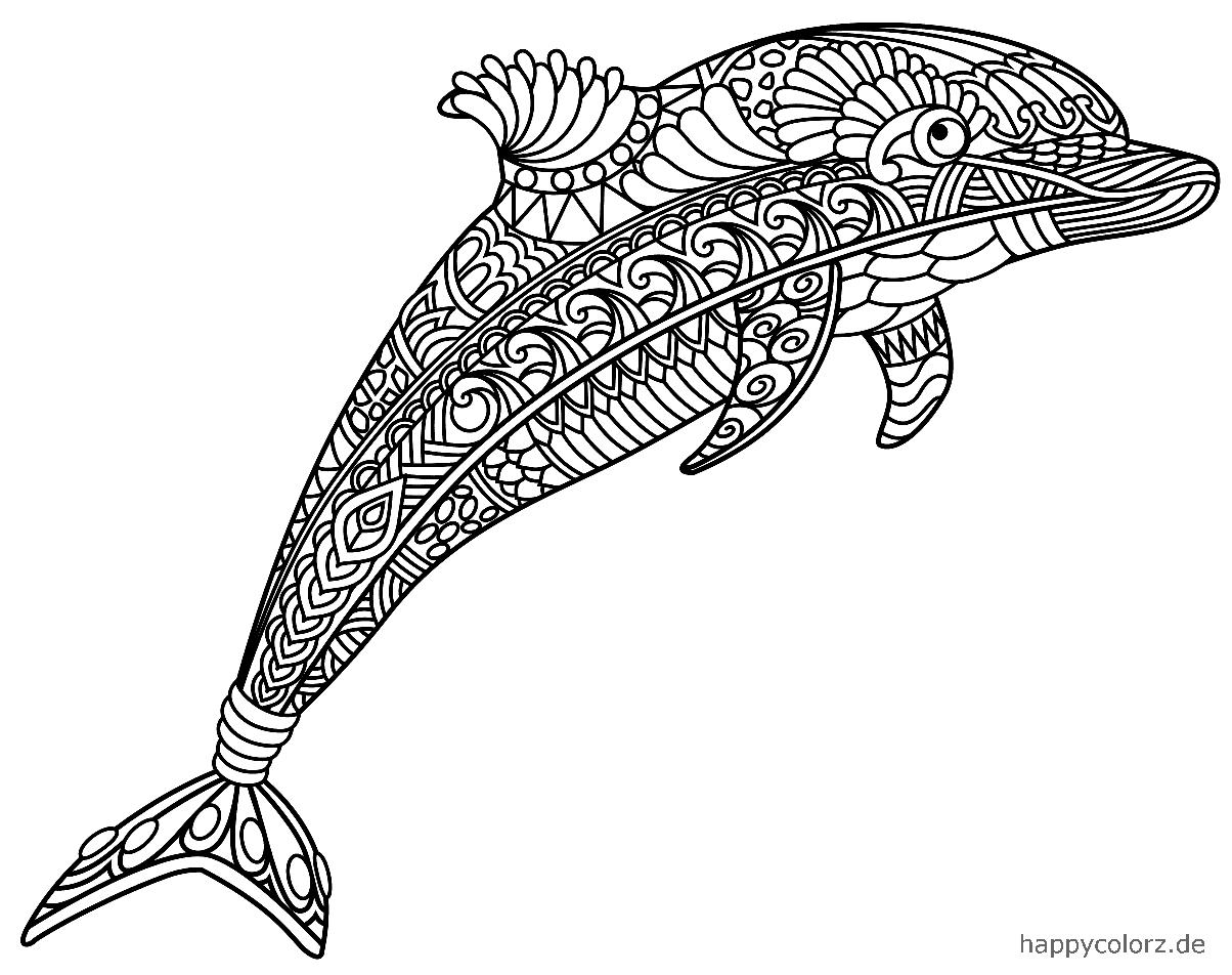 Mandala Delfín para colorear