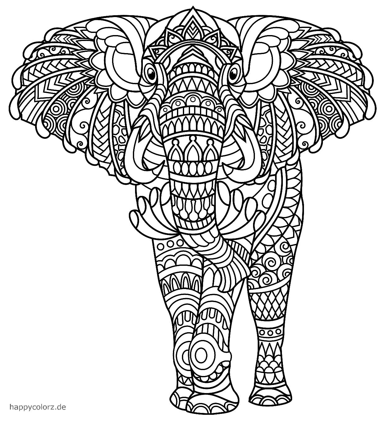 Elefante Mandala para colorear