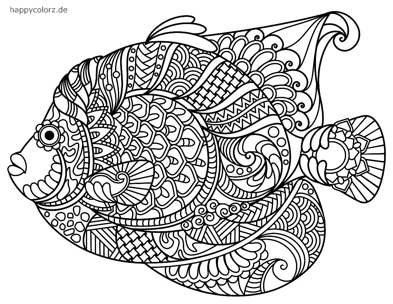 Mandala Pez para imprimir