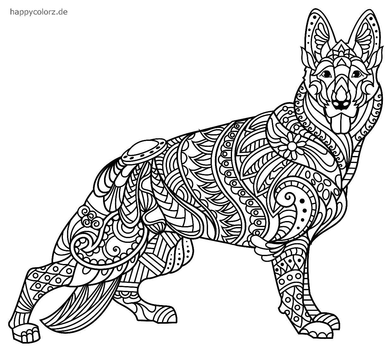 Mandala Perro Pastor para imprimir