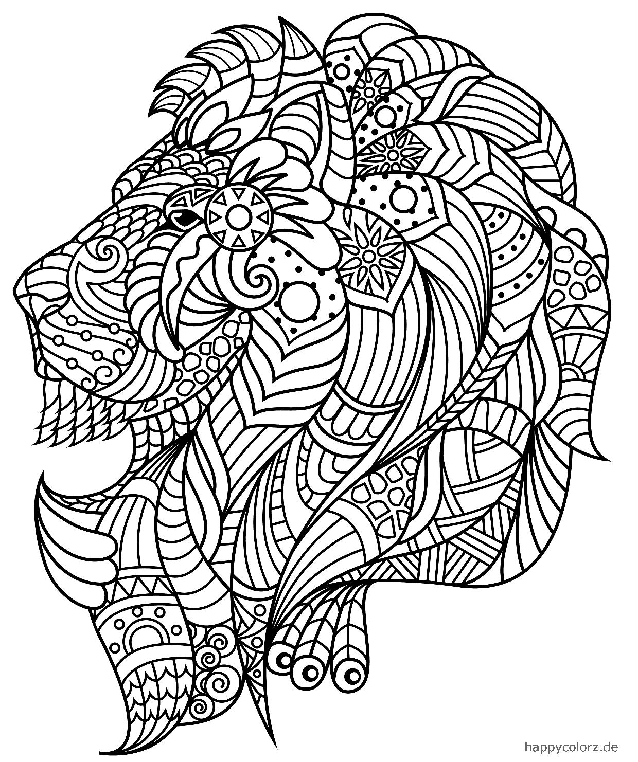 León Mandala para colorear