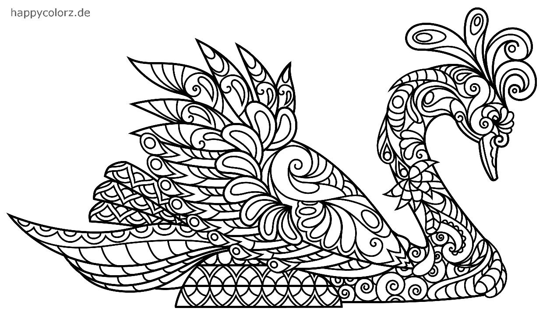 Cisne Mandala para colorear