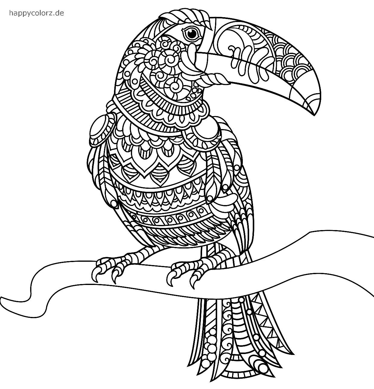 Tucán Mandala para colorear