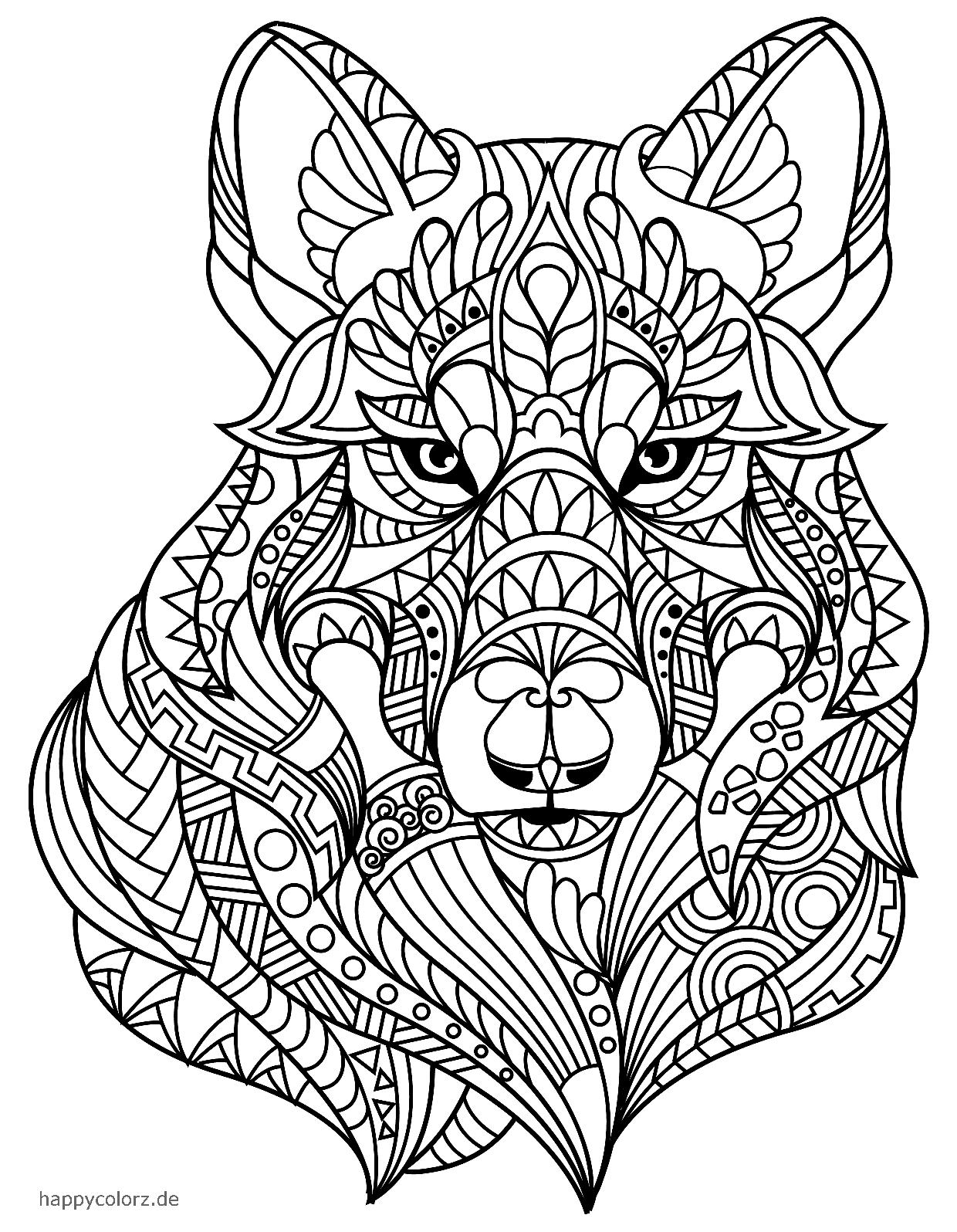 Mandala Lobo para colorear