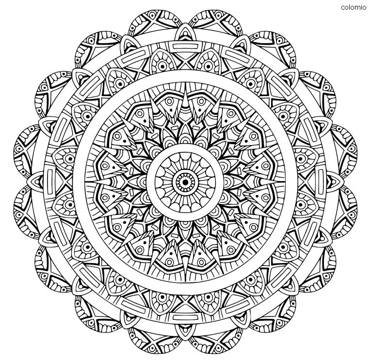 Mandala Art Deco Coloring Page