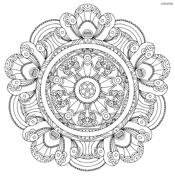 Mandala Flower Advanced Coloring Page