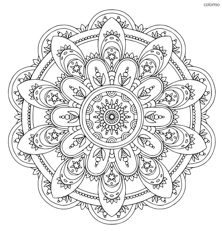 Mandala floral con estrellas para imprimir