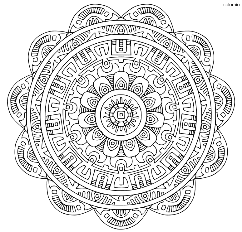 Mandala Geometric Coloring Page