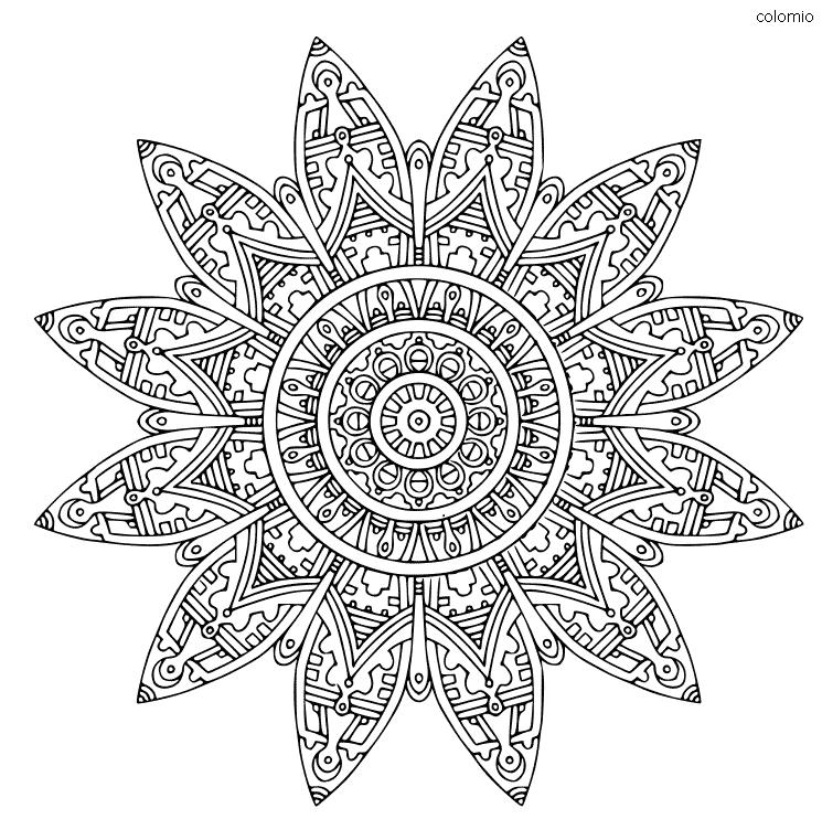 Mandala estilo Inca para colorear
