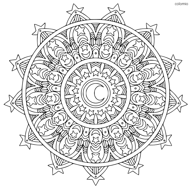 Mandala with Moon and Stars Coloring Page
