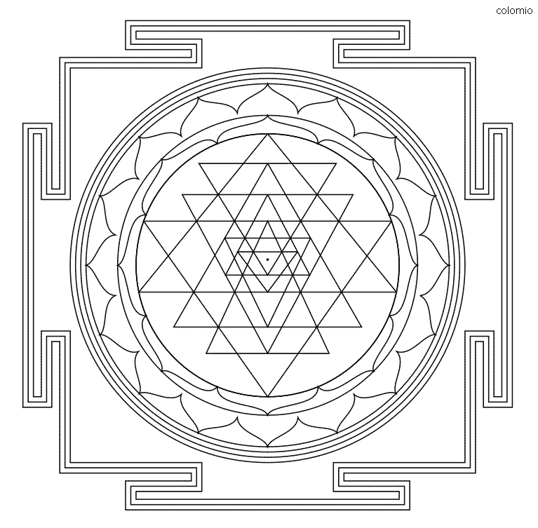 Sri Yantra Coloring Page