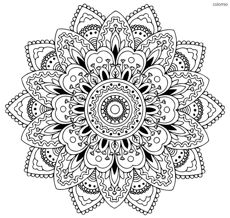 Sunflower Mandala Coloring Page