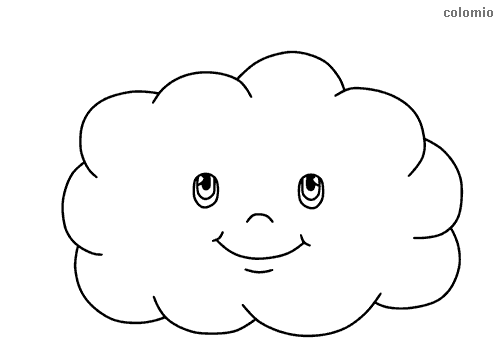 Cloud with face coloring page